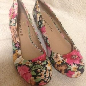 Rampage Low Wedge Ballet Flats, Sz 7.5 M, Floral